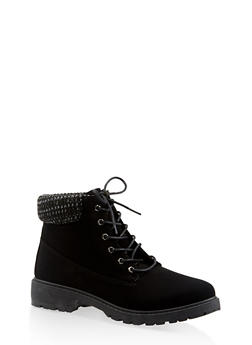 Knit Cuff Lace Up Work Boots - BLACK - 3116073541020