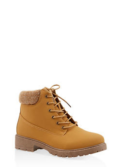 Knit Cuff Lace Up Work Boots - OATMEAL - 3116073541020