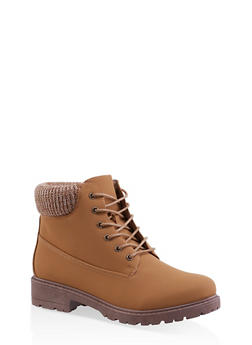 Knit Cuff Lace Up Work Boots - TAN - 3116073541020