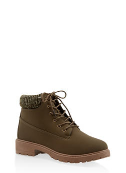 Knit Cuff Lace Up Work Boots - OLIVE - 3116073541020