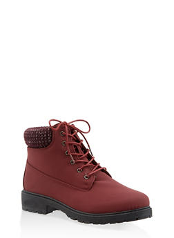 Knit Cuff Lace Up Work Boots - WINE - 3116073541020