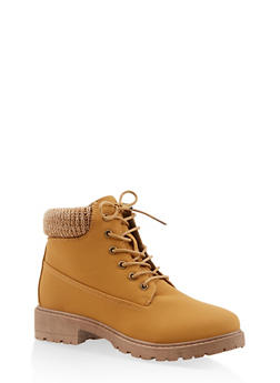 Knit Cuff Lace Up Work Boots - TAN S - 3116073541020