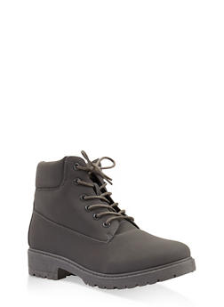 Lug Sole Lace Up Boots - GRAY - 3116073541023