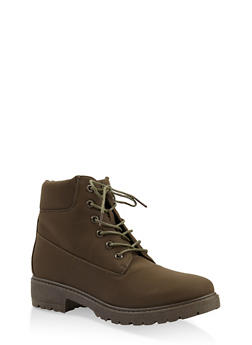 Lug Sole Lace Up Boots - OLIVE - 3116073541023