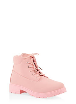 Lug Sole Lace Up Boots - PINK - 3116073541023