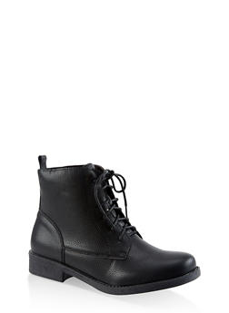Lace Up Booties - BLACK - 3116073541024