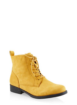 Lace Up Booties - MUSTARD - 3116073541024