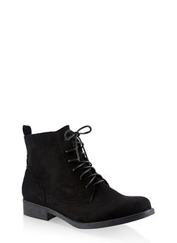 Lace Up Booties - BLACK SUEDE - 3116073541024