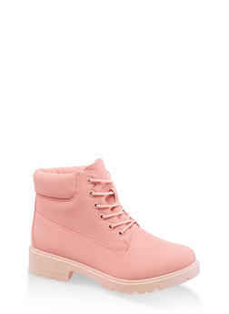Colored Lace Up Work Boots - PINK - 3116073541026