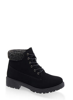 Lace Up Knit Cuff Work Boots - 3116073541027