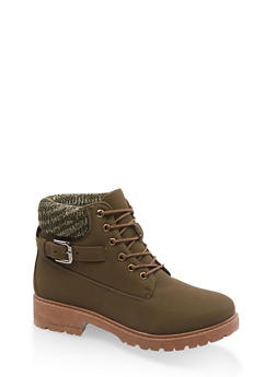 Buckle Detail Work Boots - 3116073541047