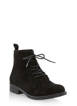 Faux Suede Lace Up Ankle Booties - BLACK F/S - 3116073541780