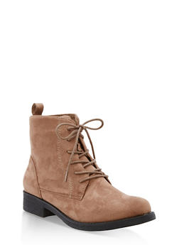 Faux Suede Lace Up Ankle Booties - TAUPE F/S - 3116073541780