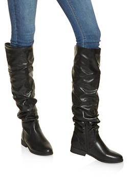 Ruched Tall Boots - BLACK - 3116074707475