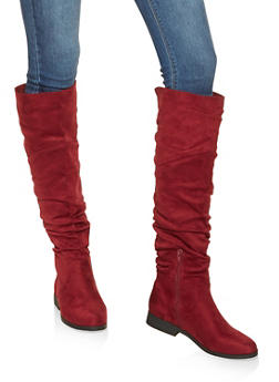 Ruched Tall Boots - WINE - 3116074707475
