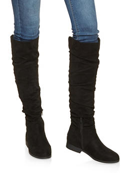 Ruched Tall Boots - BLACK SUEDE - 3116074707475