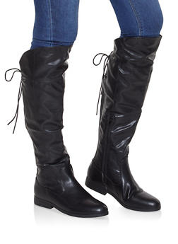Over the Knee Lace Up Riding Boots - BLACK - 3116074707627