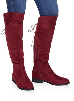Over the Knee Lace Up Riding Boots - WINE - 3116074707627