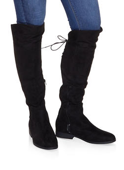Over the Knee Lace Up Riding Boots - BLACK SUEDE - 3116074707627