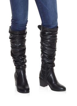 Faux Leather Ruched Boots - BLACK - 3116074708727