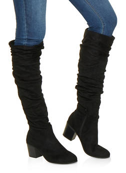 Faux Leather Ruched Boots - BLACK SUEDE - 3116074708727