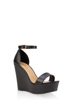 Ankle Strap Wedge Sandals | 3117004062464 - BLACK - 3117004062464