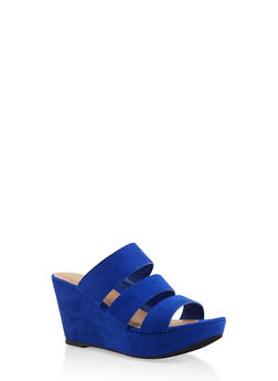 Triple Strap Wedge Sandals - NAVY S - 3117004067305