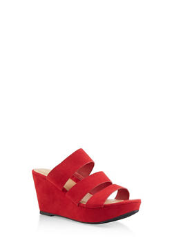 Triple Strap Wedge Sandals - RED S - 3117004067305