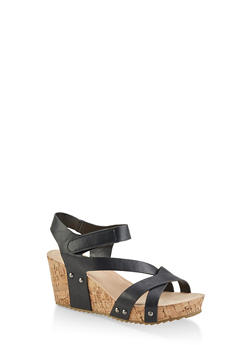 Criss Cross Asymmetrical Strap Cork Wedges - 3117004067979