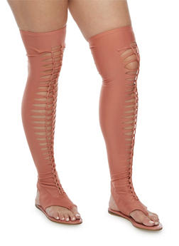 Stretch Braided Thigh High Sandals - 3118004064287