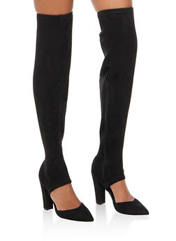 Pointed Toe Thigh High Boots - BLACK F/S - 3118004066232