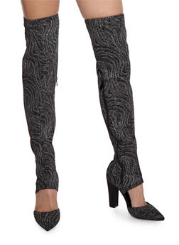 Pointed Toe Thigh High Boots - 3118004066232