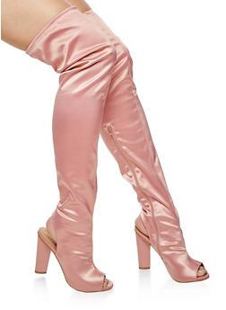Peep Toe Over the Knee Boots with Open Heel - 3118004067871