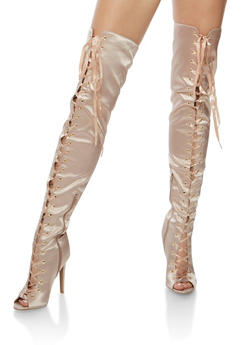 Satin Thigh High Lace Up Boots - 3118029914684