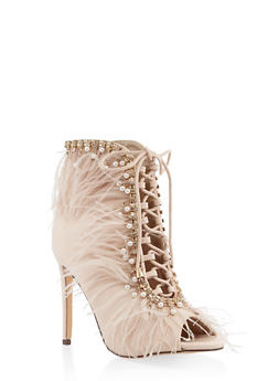 Feathered Lace Up Peep Toe Booties - BEIGE - 3118065462272