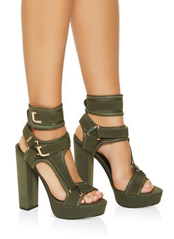 Neoprene Velcro Strap High Heel Sandals - OLIVE - 3118065464526