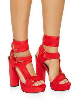 Neoprene Velcro Strap High Heel Sandals - RED - 3118065464526