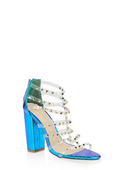 Studded Clear Strap High Heel Sandals - GREEN - 3118065464597