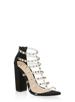 Studded Clear Strap High Heel Sandals - BLACK SUEDE - 3118065464597