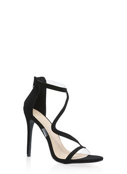 Wavy Strap High Heel Sandals - BLACK SUEDE - 3118065466453