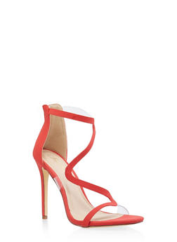 Wavy Strap High Heel Sandals - RED S - 3118065466453