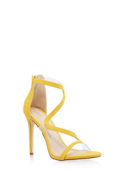 Wavy Strap High Heel Sandals - YELLOW S - 3118065466453