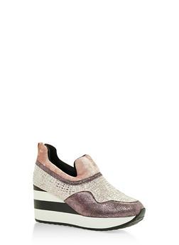 Multi Textured Striped Platform Sneakers - 3118068265384