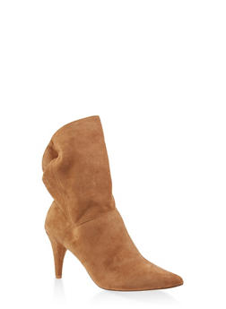 Tabbed Pointed Toe Heeled Booties - TAN - 3118070966674