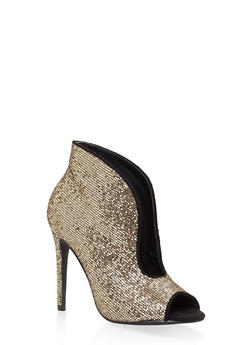 Glitter High Heel Cut Out Booties - GOLD - 3118070966873