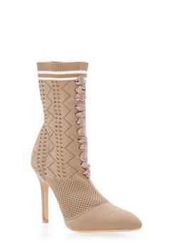 Lace Up Knit Sock High Heel Booties - BEIGE - 3118073541778
