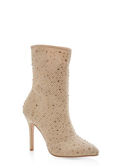 Rhinestone Mesh High Heel Booties - NUDE - 3118073541782