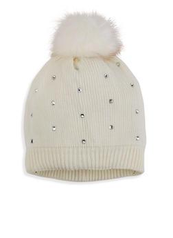 Studded Knit Pom Pom Beanie - 3119042740008