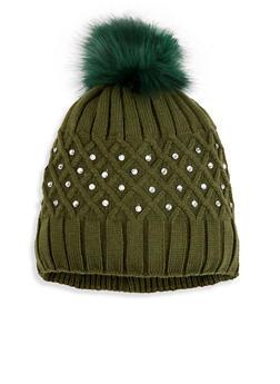 Studded Knit Pom Pom Beanie - OLIVE - 3119042740010