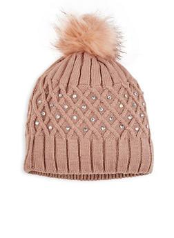 Studded Knit Pom Pom Beanie - 3119042740010